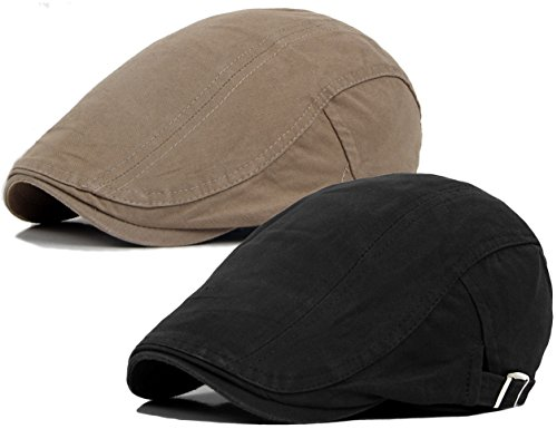 2 Pack Men's Cotton Flat IVY Gatsby newsboy Driving Hat - Style Mens Gatsby