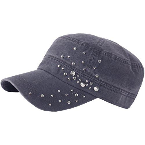 er Metal Spike Stud Punk Rock Club Army Cap Cadet Military Hat (Gray) ()