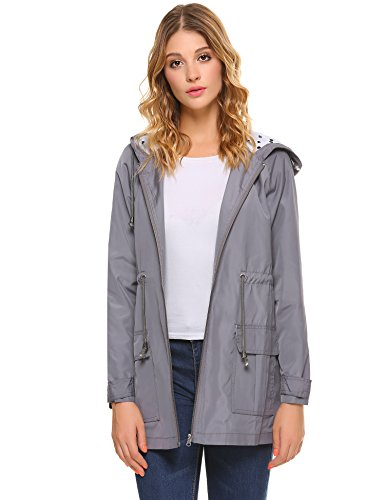 iClosam Women Waterproof Lightweight Hooded Raincoat Active Outdoor Rain Jacket