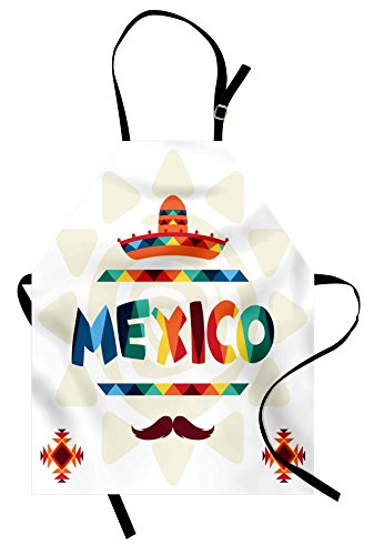 Ambesonne Mexican Apron, Mexico Traditional Aztec Motifs and Sombrero Straw Hat and Moustache Graphic Print, Unisex Kitchen Bib Apron with Adjustable Neck for Cooking Baking Gardening, Multicolor by Ambesonne