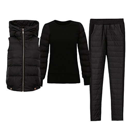 Zhiyuanan Women Winter Fashion 3 In 1 Bodywarmer Sets Hooded Padded Gilet+ Pullover+Down Pants Chic Thicken Warm Puffer Vest Jacket Filled Trousers Jumper Outerwear Black