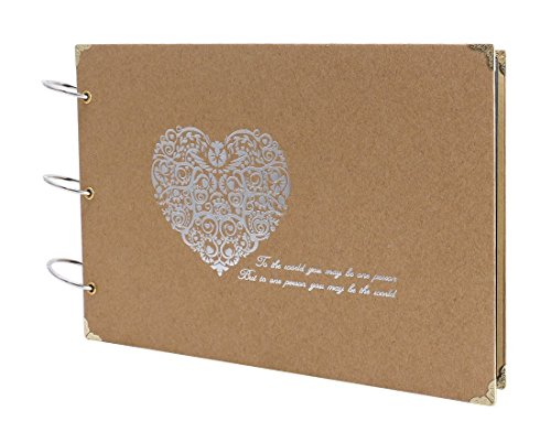 Farway DIY 10 x 7 Inch Photo Album with Plain Pages Scrapbooking Scrapbook for Our Love Story Wedding Anniversary Couples Family Friends Memory Book (Silver Heart)