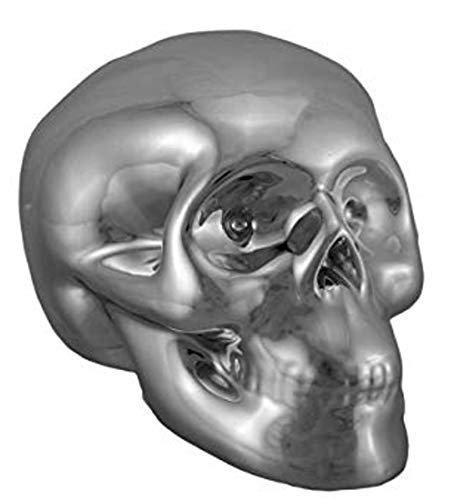 (Kingmax Ceramic Toy Skull Bank 37069-SV Silver Color Chrome Plated Ceramic Human Skull Money Bank 5 X 3.5 X 3.25 Inches )