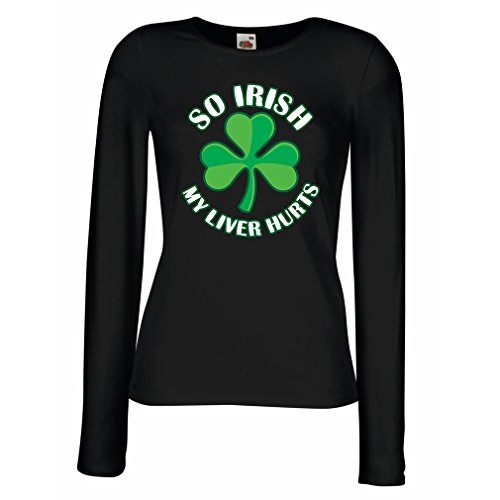 (T Shirts for Women Long Sleeve St. Paddy's Day Sayings Shirts, So Irish (Large Black Multi Color))