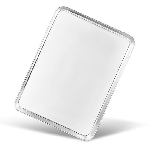 Bastwe Baking Sheet, Stainless Steel Cookie Sheet Baking Tray Pan, Professional Bakeware, Rectangle Size 16×12×1 inch, Healthy & Non Toxic, Mirror Finish & Rust Free, Easy Clean & Dishwasher Safe by Bastwe
