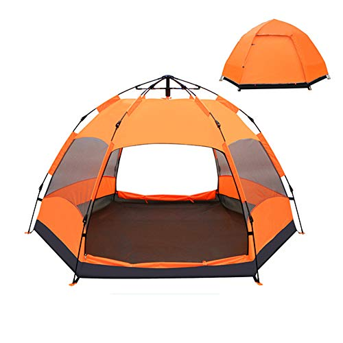 WLXW Outdoor 6-9 People Pop-Up Tent, Double Hexagonal Beach Automatic Tent, Camping Tent Sunscreen, Beach Tent Large Space, Waterproof and Breathable,Orange (Best Tent Camping In Estes Park)