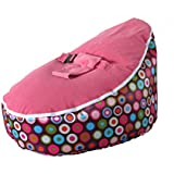 LCY Baby Bean Bag Chair Rainbow Dots Pink-UNFILLED