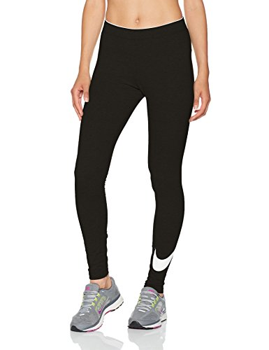 Nike Womens Club Legging Large Swoosh Black/White 815997-010 Size Small
