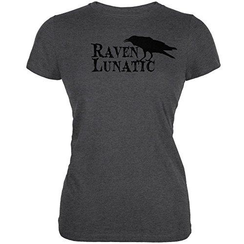 Halloween Raven Lunatic Dark Heather Juniors Soft T-Shirt - Medium -