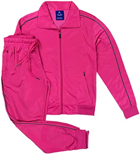 Women's Athletic Sports Exertion Tracksuit Outfit Trackpant and Track Jacket Jogger Gym Casual Wear Set (Pink, S)