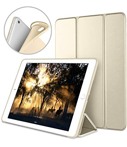 iPad Pro 10.5 Soft Back Case, DTTO Ultra Slim [Anti-Scratch] Lightweight Smart Case Trifold Cover Stand with Flexible Soft TPU Back Cover for iPad Pro 10.5 inch [Auto Sleep/Wake],Champagne Gold