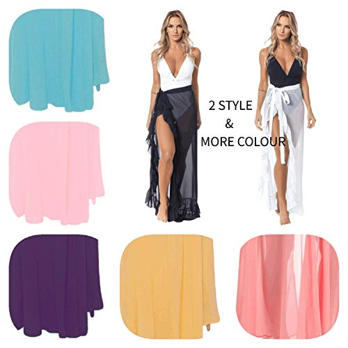 Cover Ups for Swimwear Women's Tie Side Boho Split Long White Beach Dress Chiffon Sheer Maxi Beach Skirt