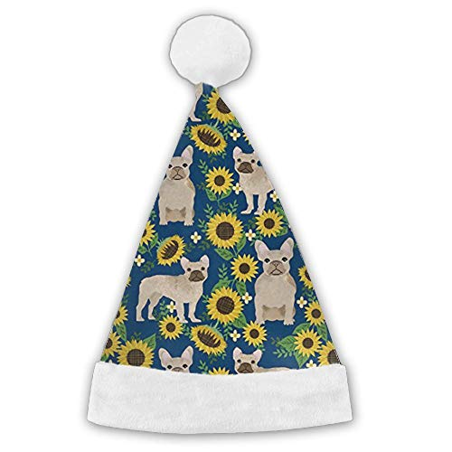 Kux14Bt French Bulldog Sunflowers Funny Party Hats Christmas