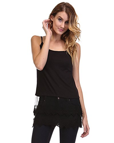 Lace top extender. Cotton-Blend Layering Camisole with Extra-Long Sheer Lace Bottom .Assorted Colors & Extended Sizes (M/L, Black)