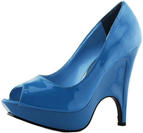 Women's Trendsup Gaga-1 Teal Blue Patent Platform Wedge Peep Pumps Shoes, Blue, 6 (Blue Platforms)