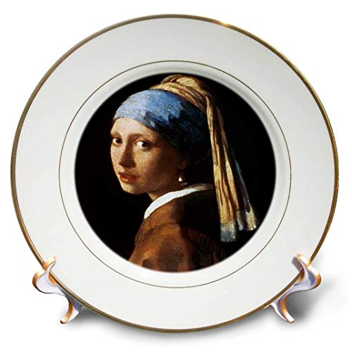 (3dRose cp_128108_1 Girl with a Pearl Earring by Jan Vermeer Porcelain Plate,)