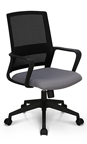 Mid Back Grey Mesh - Neo Chair High End Air Mesh and Nylon Base Managerial Conference Room Office Chair Ergonomic Lumbar Support Computer Desk Chair Adjustable Swivel Mid Back Task Chair Rolling Armrests Stool, Grey
