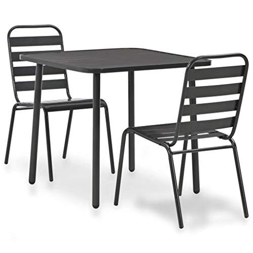 (Festnight 3 Piece Outdoor Bistro Set Powder-Coated Steel Table with 2 Slatted Design Stacking Chairs Dining Set Breakfast Kitchen Bar Pub Garden Backyard Patio Indoor Outdoor Furniture)
