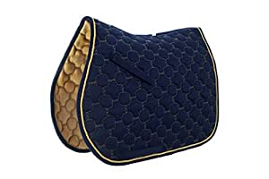 Roma Ecole Noble Saddle Pad - All Purpose - Size:Full Color:Navy/Gold