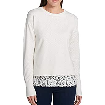 DKNY Womens Lace Trim Crewneck Pullover Sweater at Amazon
