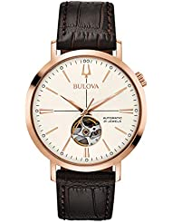 Bulova Men's 'Classic' Automatic Stainless Steel and Leather Dress Watch, Color:Brown (Model: 97A136)
