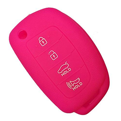 (Coolbestda Silicone 4 Buttons Flip Key Fob Cover Keyless Case Jacket Remote Holder Protector for Hyundai Sonata Santa Fe Tucson Rose)