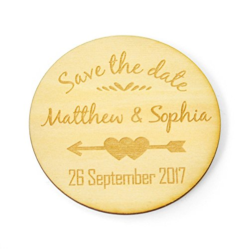(Rustic Save the Date Wedding Magnets, Personalised Wood Magnets, Wedding Invitation Custom Wedding Magnets (10))