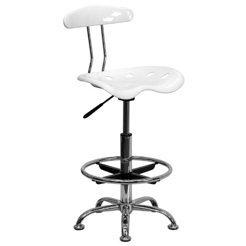 Flash Furniture Vibrant White and Chrome Drafting Stool with Tractor Seat