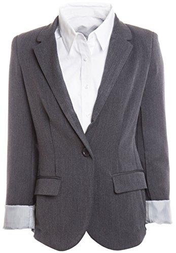 Grey Pinstripe Blazer (Womens Boyfriend Blazer,)