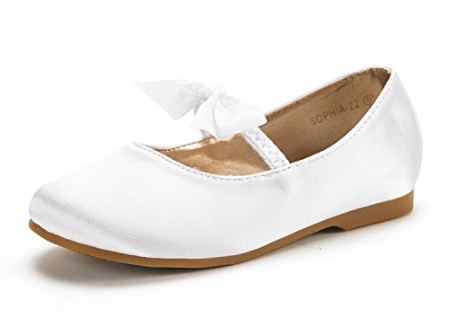 DREAM PAIRS SOPHIA-22 Adorables Mary Jane Front Bow Elastic Strap Ballerina Flat Little Girl New White Big Kid - Dress Mary Shoes Jane Leather