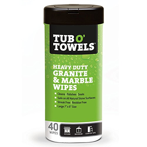 Tub O Towels TW40-GR Granite And Marble Cleaning, Polishing, Sealant All-In-One Wipes (Tub of 40 Wipes)