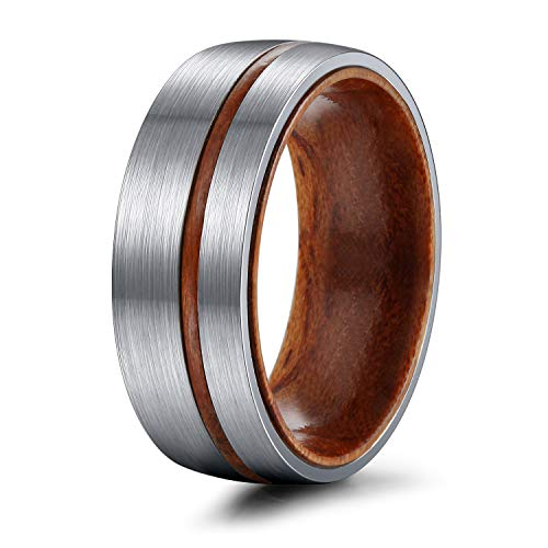 TIGRADE 6mm/8mm Titanium Wedding Band with Nature Wood Comfort Fit Dome Matte Finish Grooved Promise Ring for Men Women Size 6-12