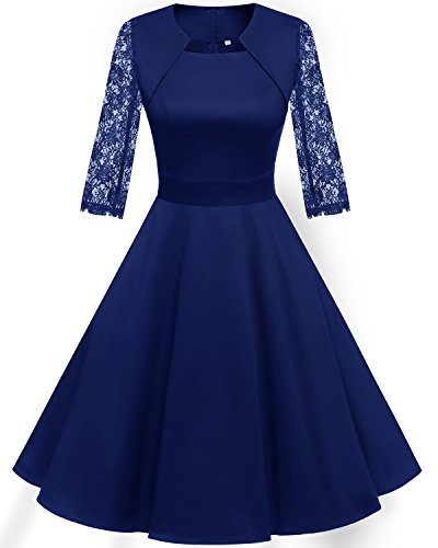 Homrain Women's 1950s Retro Vintage A-Line Long Sleeves Cocktail Swing Party Dress RoyalBlue-B XL