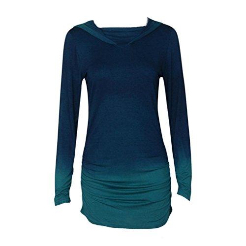 Wensltd Women Hoodies Sweatshirts Long Sleeve Hooded Gradient Color Tops (XL, Blue) for $<!--$12.99-->
