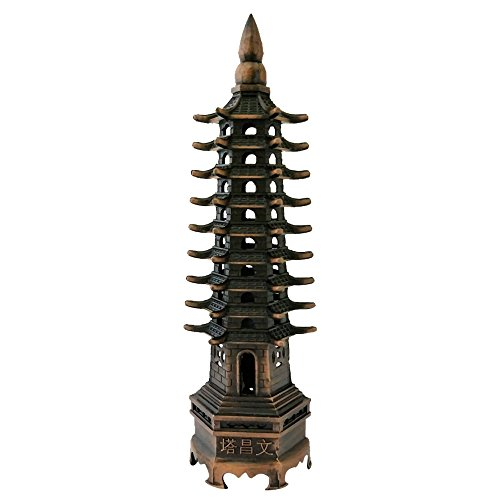 Divya Mantra Feng Shui 9 Tier Wen Chang Pagoda Metallic Education Tower for Protection and Knowledge