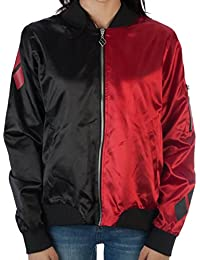 Harley Quinn Diamonds Red and Black Juniors Fitted Bomber Jacket
