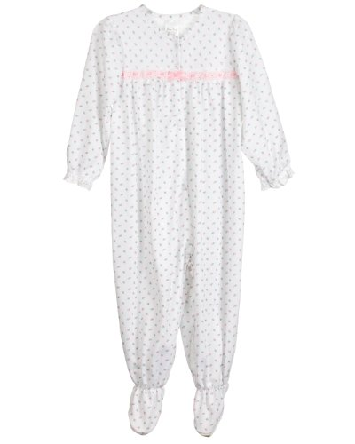 Laura Dare Baby Girls Rosebud Jersey Long Sleeve Infant Jumpsuit Pajama, 18m Pink - Pink Bow Dress Eyelet Rose