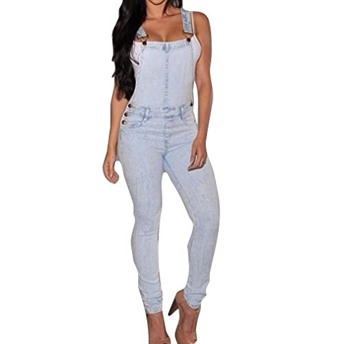 Juqilu Lady Girl's Fashion Sans Manches Dungarees Combinaisons Combishorts Denim Jeans Pantalon Long Dcontract Pantalon Slim Femmes Daily/Soire/Travail/Plage/Rue/cole Combinaisons Bleu