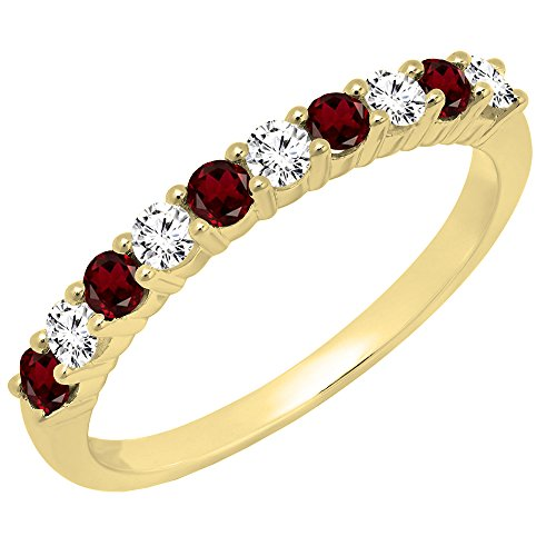 14K Yellow Gold Round Garnet & White Diamond Ladies Stackable Wedding Band (Size 8.5) - Garnet White Gold Wedding Bands