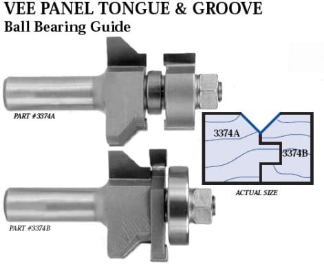 2 Piece Set Whiteside 3374 V-Panel Tongue /& Groove Router Bit with Ball Bearing Guide