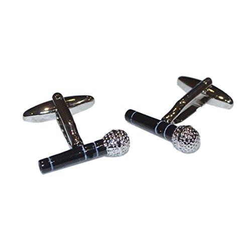 Retail Zone Microphone Cufflinks Modern Cuff Links Singer Musician Music Singing