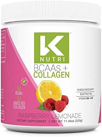 K Nutri Sugar-Free BCAA + Collagen Powder: Maximize Workouts - Support Hair, Gut, Skin and Nails - Includes 2g Grass-Fed Collagen Peptides, 2:1:1 Ratio of BCAA's, Vitamins B6 and B12, Electrolytes