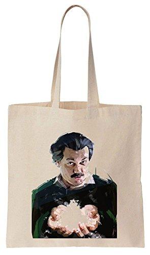 Portrait Of Pablo Escobar With The Snow In His Hands Sacchetto di cotone tela di canapa