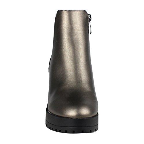 Pewter Pleated Sole Ankle Heel Chunky Lug Inner Booties Zipper Womens EI56 Beston xqPO1w