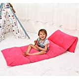 Ohnanana Kids Floor Pillow Bed Cover, Soft Plush,Perfect for Sleepovers Party,Lounger for Reading,Playing, Chair,Bean Bag.Cover Only (Solid Hot Pink)