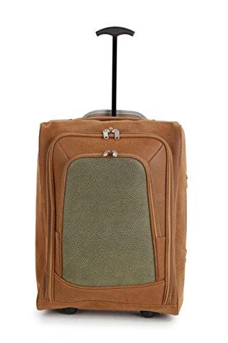 Kabinengröße Designer-Trolley-Tasche beendet stilvolle Veloursleder-Look - von allen großen Fluggesellschaften akzeptiert (Tan / Olive)