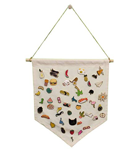 Enamel Pin Wall Display Banner - Organize and Display Your Enamel Pins, Buttons, Patches, Badges & Lapels Collections On Walls - Made of Organic Cotton Cloth. (Blank Canvas)