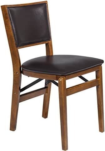 Stakmore Retro Upholstered Back Folding Chair Finish, Set of 2, Fruitwood