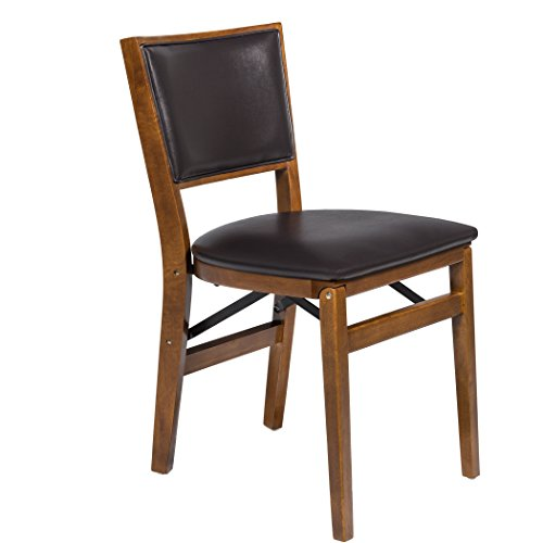 Stakmore Retro Upholstered Folding Chair - Set of 2, Fruitwood/Expresso