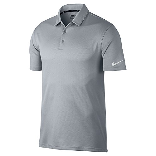 NIKE Dry Fit Textured OLC Golf Polo 2017 Wolf Gray/Pure Platinum/White (Platinum Golf Shirt)